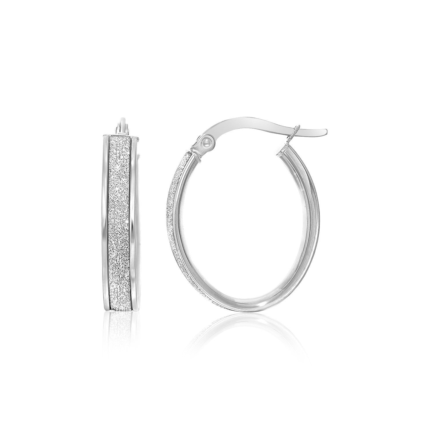 14K White Gold Glitter Center Oval Hoop Earrings