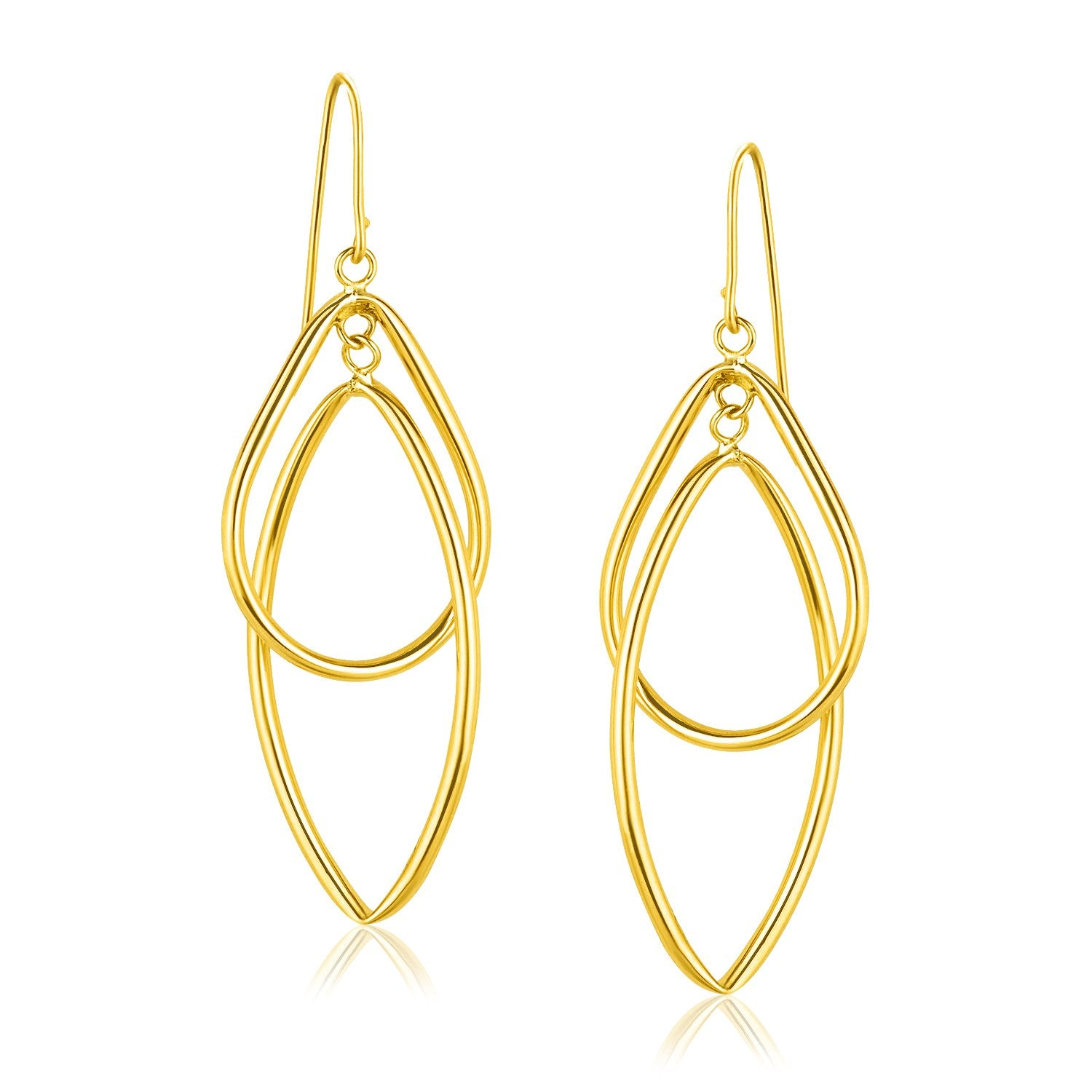 14K Yellow Gold Entwined Teardrop Double Row Earrings