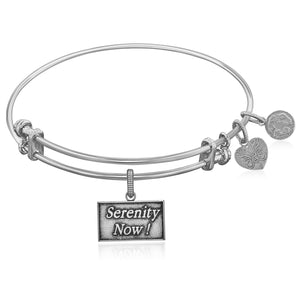 Expandable White Tone Brass Bangle with Seinfeld Serenity Now! Symbol