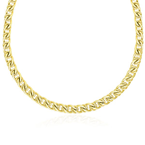 14K Yellow Gold Textured Round and Oval Interlaced Link Bracelet