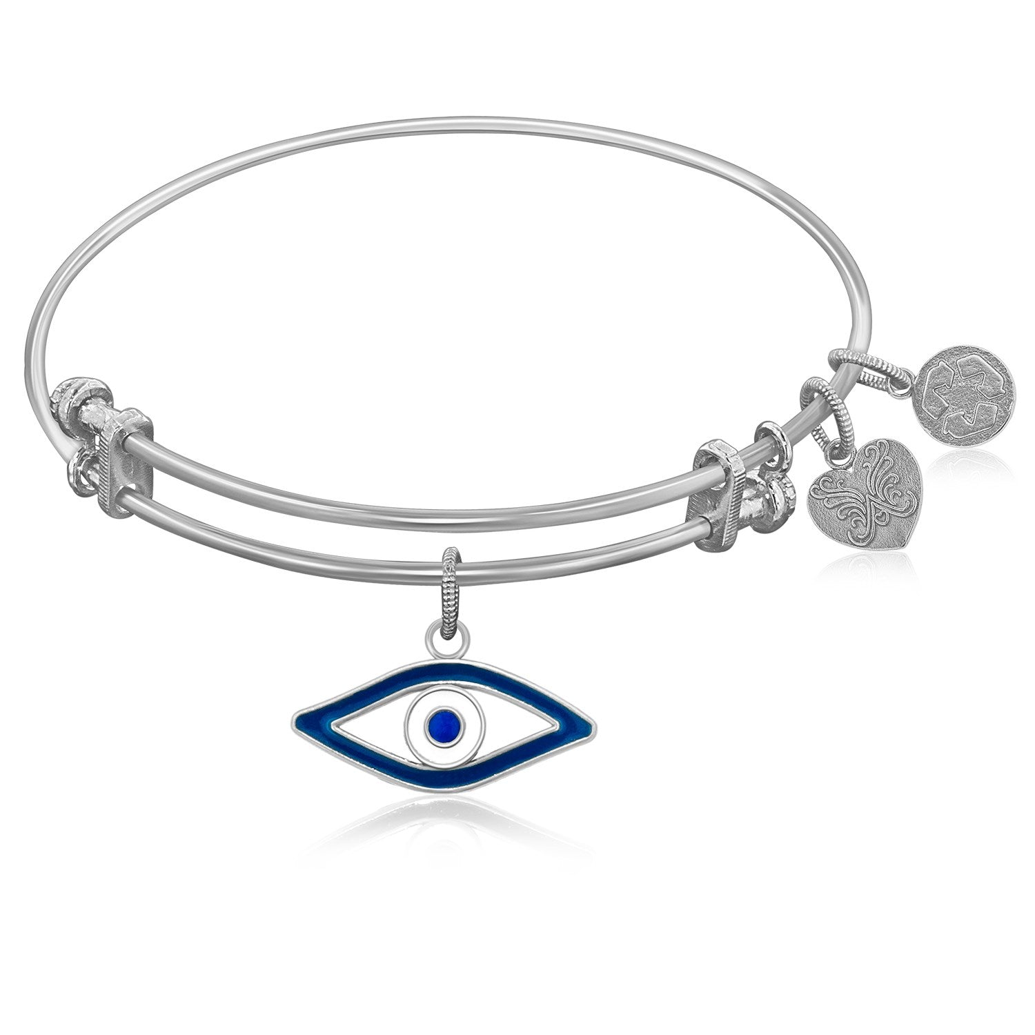 Expandable Bangle in White Tone Brass with Evil Eye Symbol