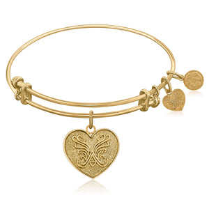 Luxury London Style Original Expandable Bangle in Yellow Tone Brass with Heart Symbol