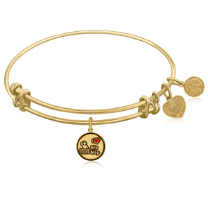 Expandable Yellow Tone Brass Bangle with I Love Hip Hop Symbol