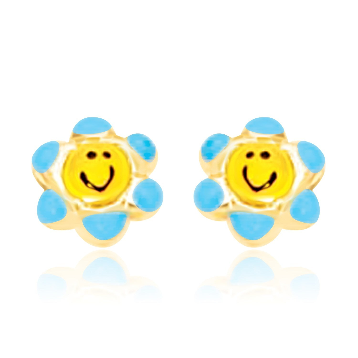 14K Yellow Gold Blue and Yellow Floral Smiley Face Earrings