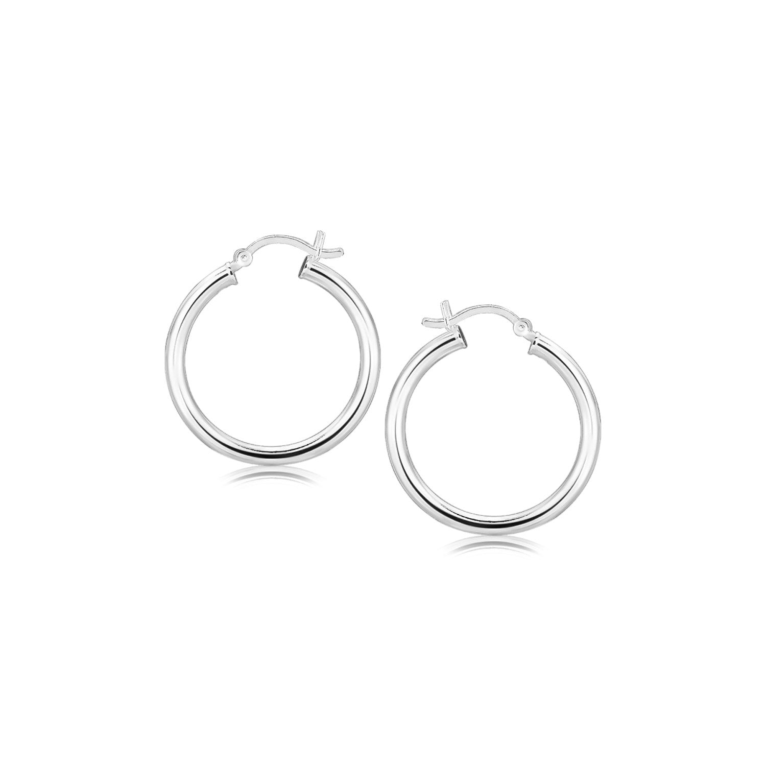 Unique Modern Paris Style Sterling Silver Rhodium Plated Polished Look Hoop Earrings (25mm)