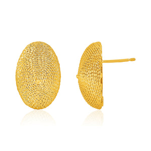 14K Yellow Gold Textured Oval Dome Post Earrings
