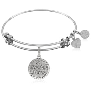 Expandable Bangle in White Tone Brass with Brides Maid Symbol
