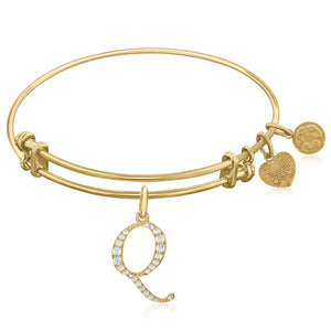 Expandable Yellow Tone Brass Bangle with Q Symbol with Cubic Zirconia