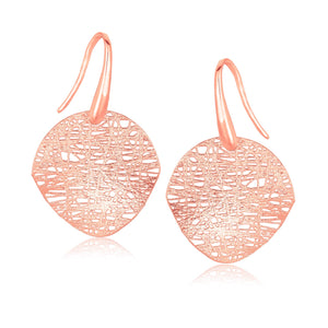 14K Rose Gold Fancy Textured Weave Earrings