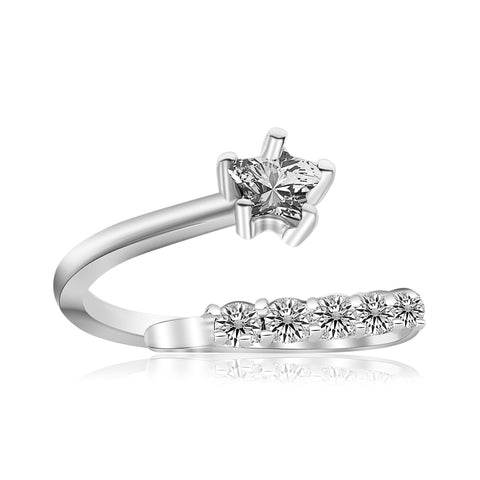 Sterling Silver Rhodium Plated Flower Design White Cubic Zirconia Toe Ring - Uniquepedia.com