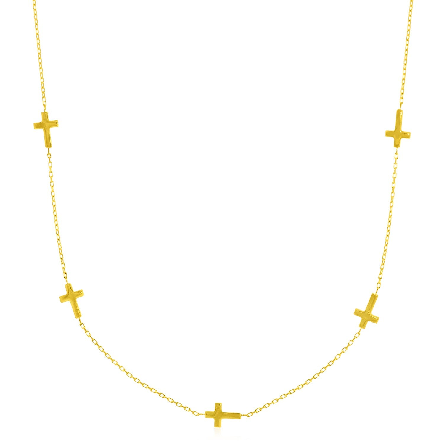 14K Yellow Gold Chain Necklace with Cross Stations