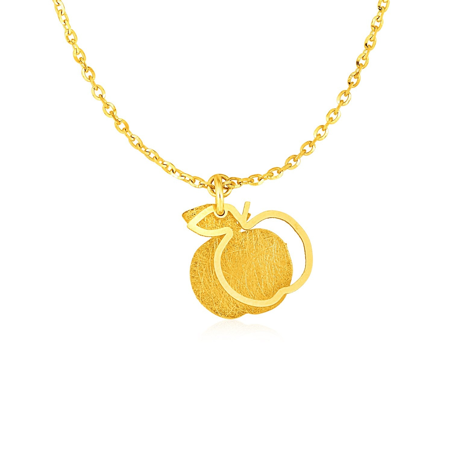 Original New York Style  Two Layer Apple Pendant in 14K Yellow Gold