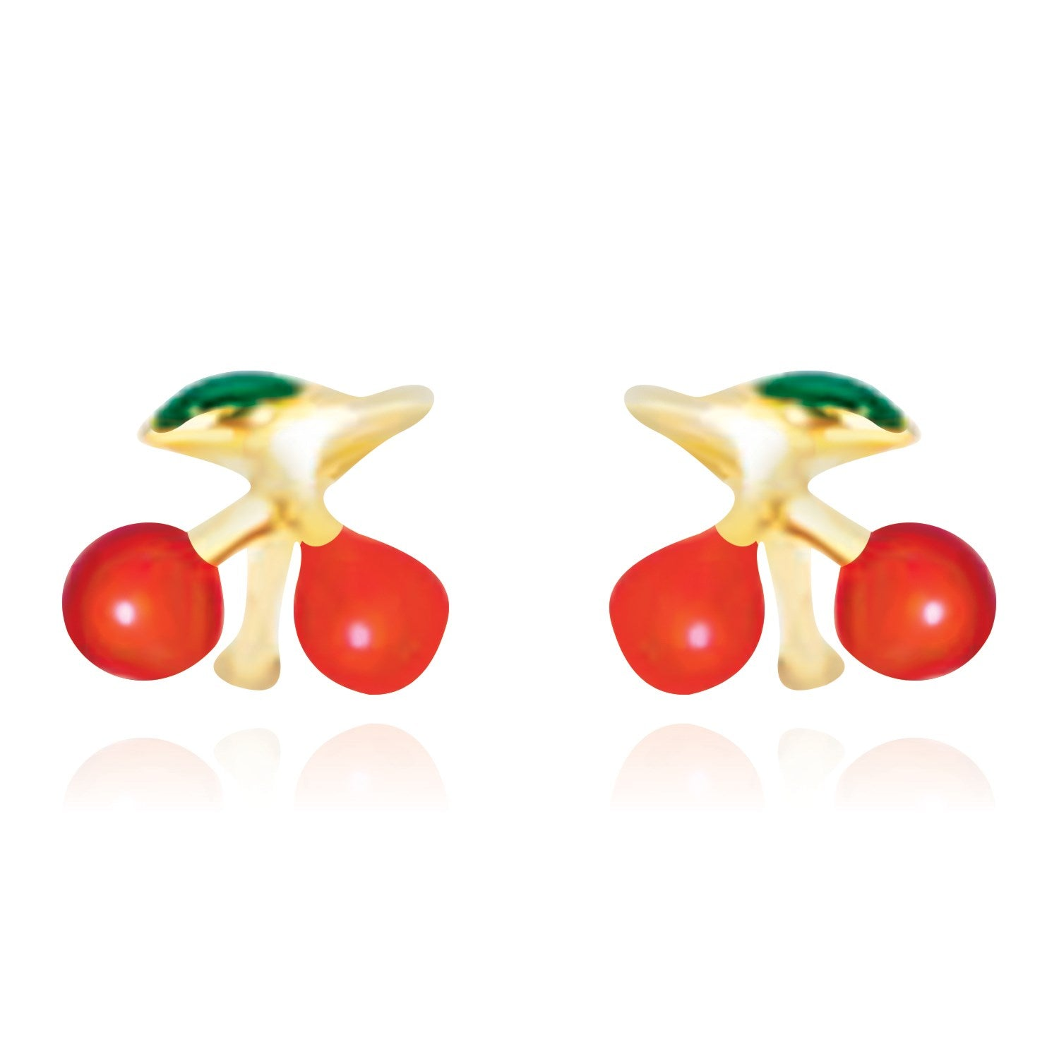 14K Yellow Gold Post Earrings with Cherry Design