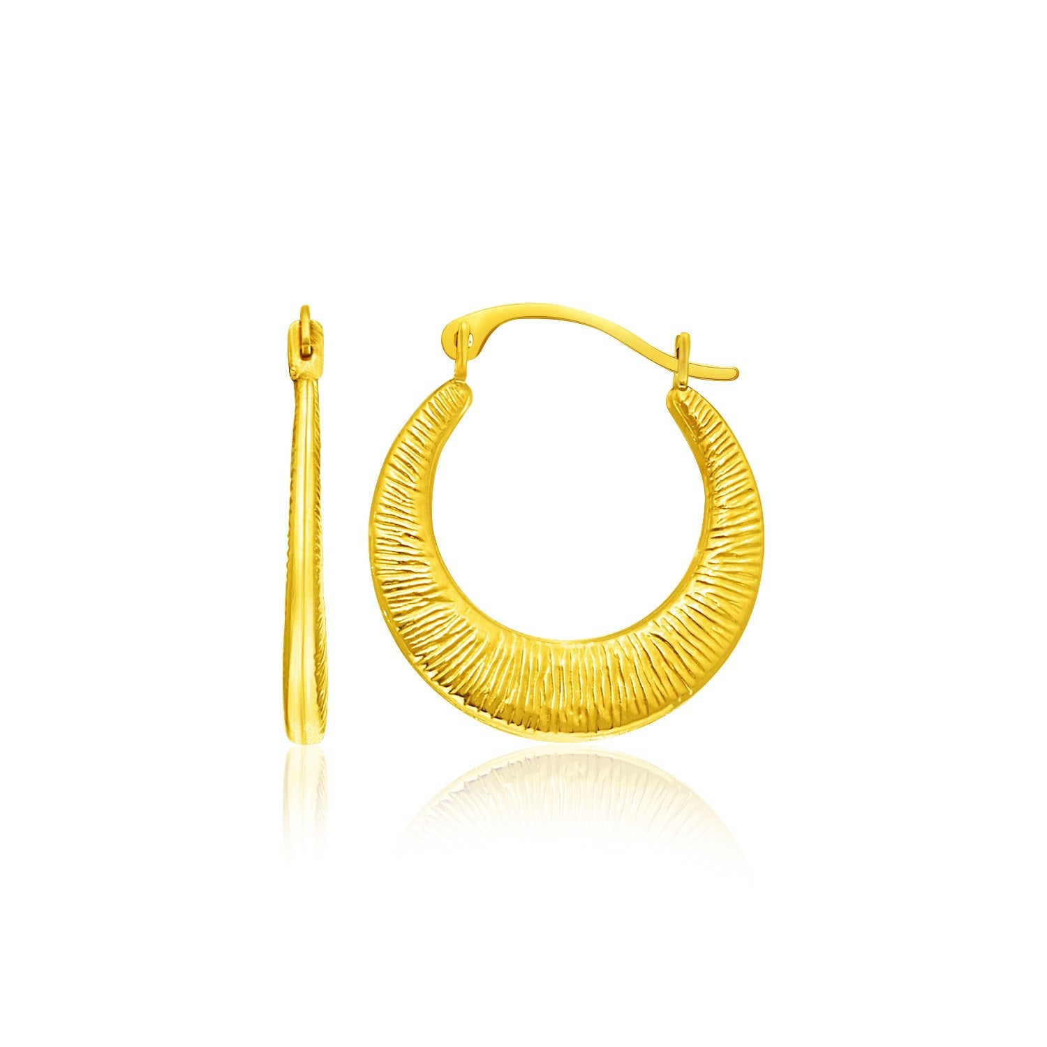 14K Yellow Gold Graduated Round Textured Hoop Earrings