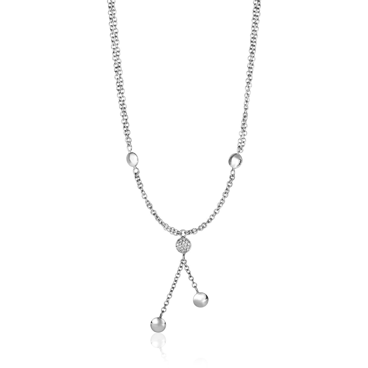 14K White Gold and Diamond 17 inch Puff Circle Drop Necklace (1/10 ct. tw.)