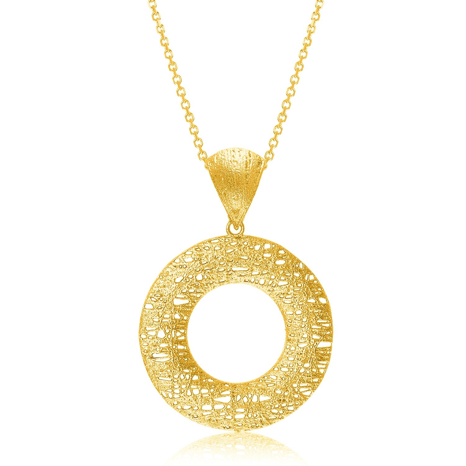14K Yellow Gold Mesh Wire Style Open Circle Pendant