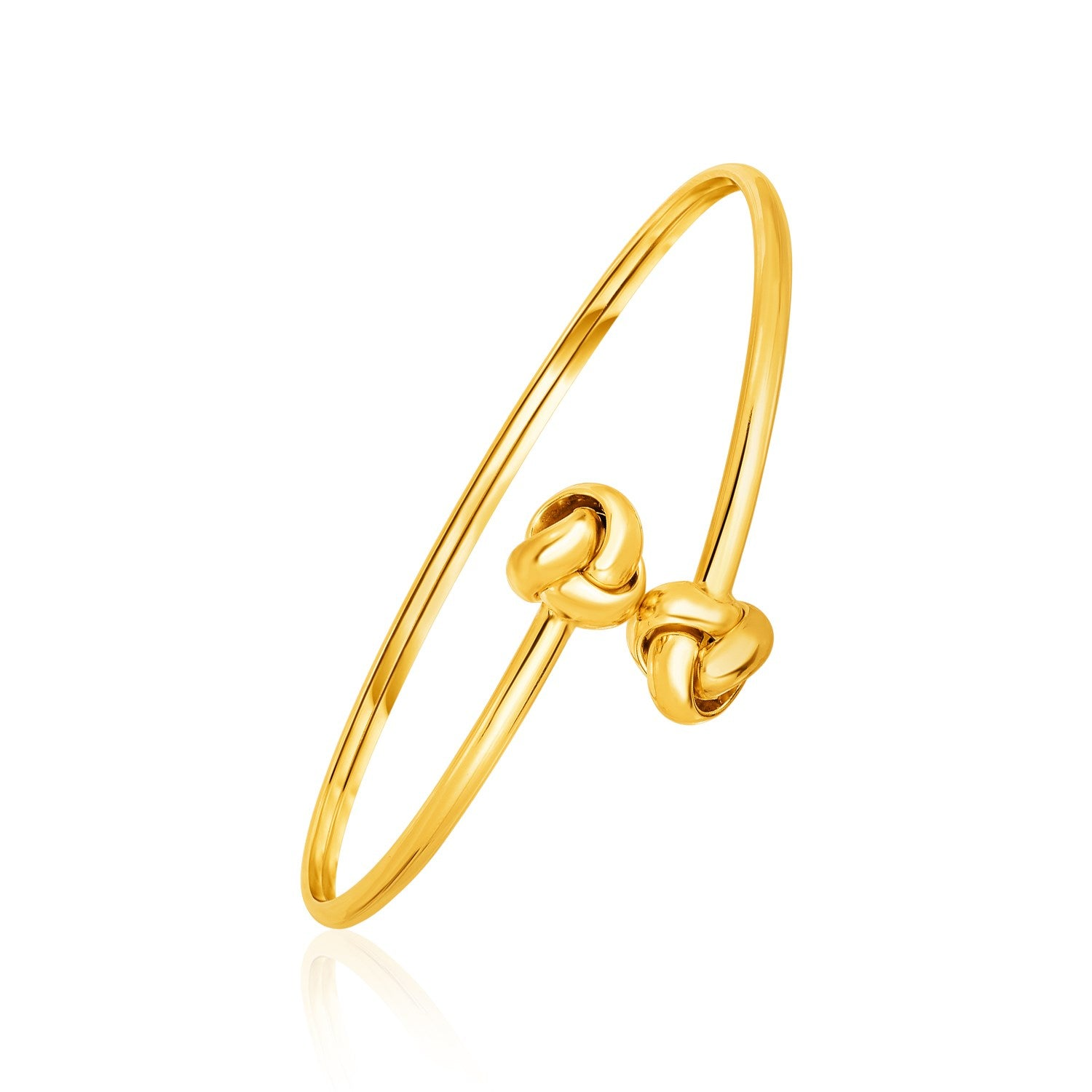 Bypass Bangle with Love Knots in 14K Yellow Gold