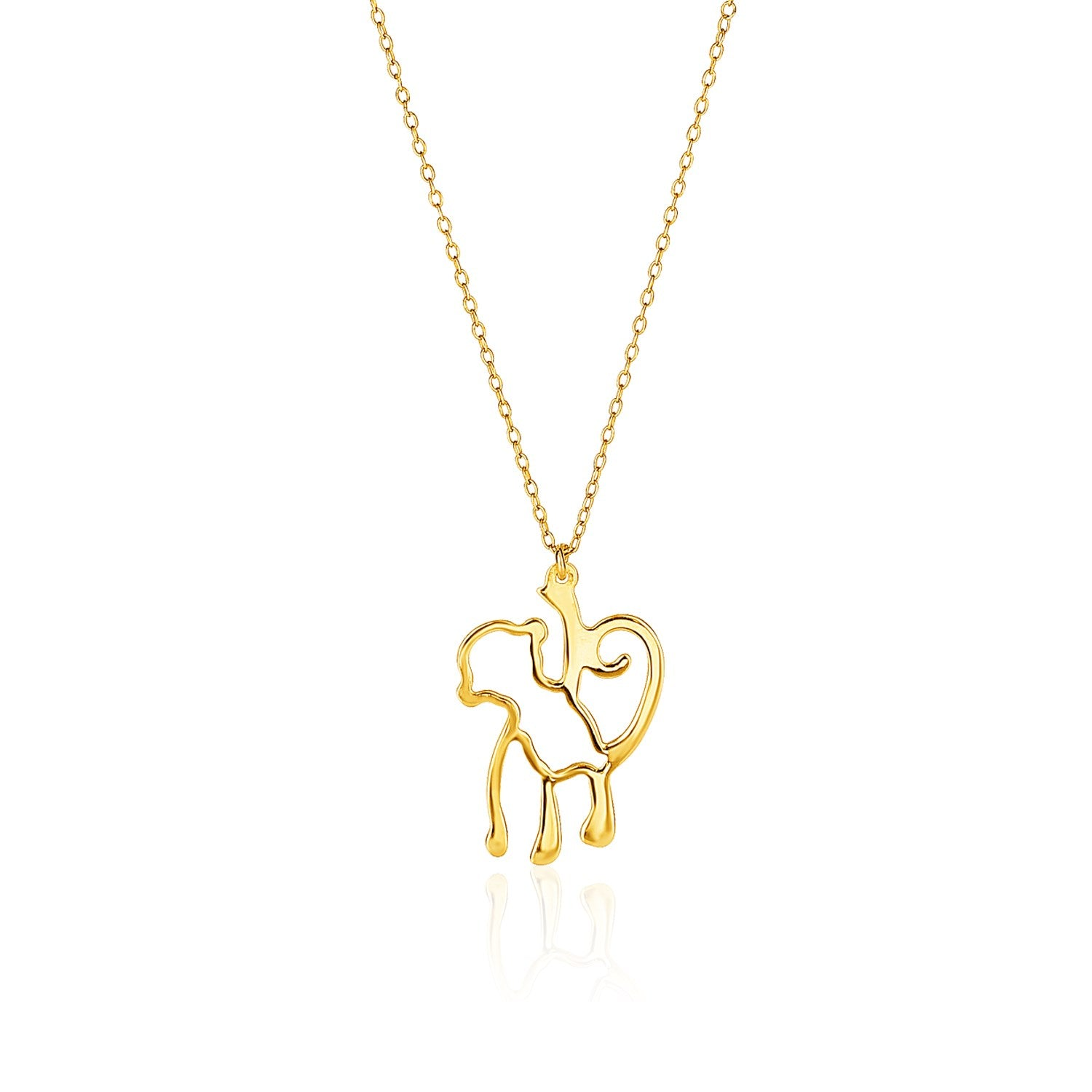 14K Yellow Gold Oval Link Necklace with Monkey Pendant