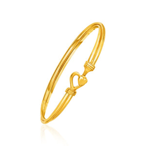 Unique Luxury French Style 14K Yellow Gold Hook Closure Bangle with Hearts