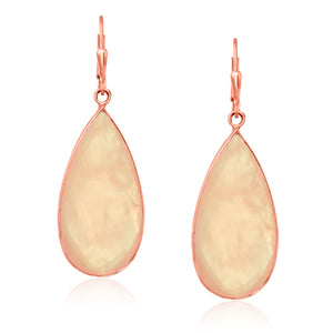 Sterling Silver Rose Gold Plated Long Teardrop Rose Quartz Earrings