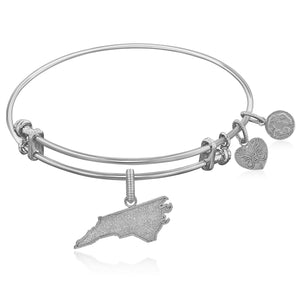 Expandable White Tone Brass Bangle with North Carolina Symbol