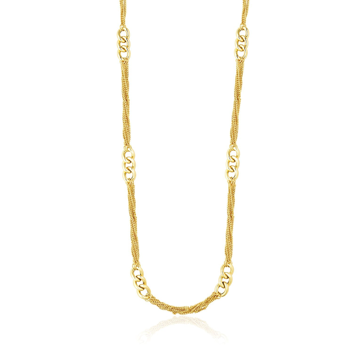 Unique Hollywood Style 14K Yellow Gold Necklace with Cluster Curb Chains and Oversized Link Stations