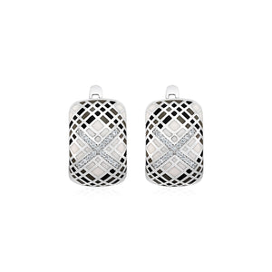 Original New York Style  Plaid Motif Earrings with Enamel and Cubic Zirconia in Sterling Silver
