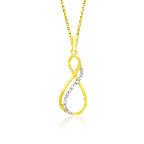 14K Yellow Gold Diamond Embellished Thin Infinity Pendant