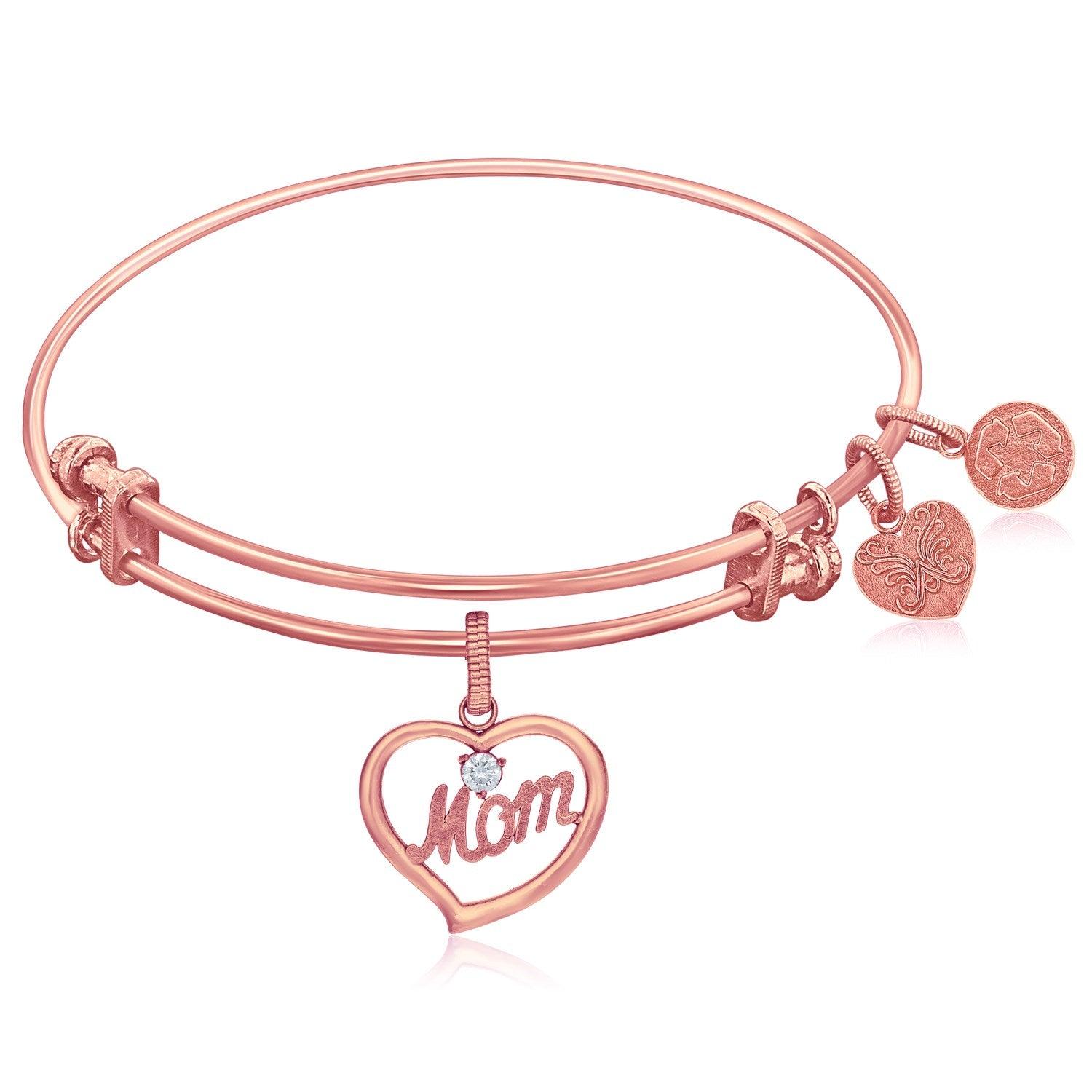 Expandable Pink Tone Brass Bangle with Mom In Heart Symbol