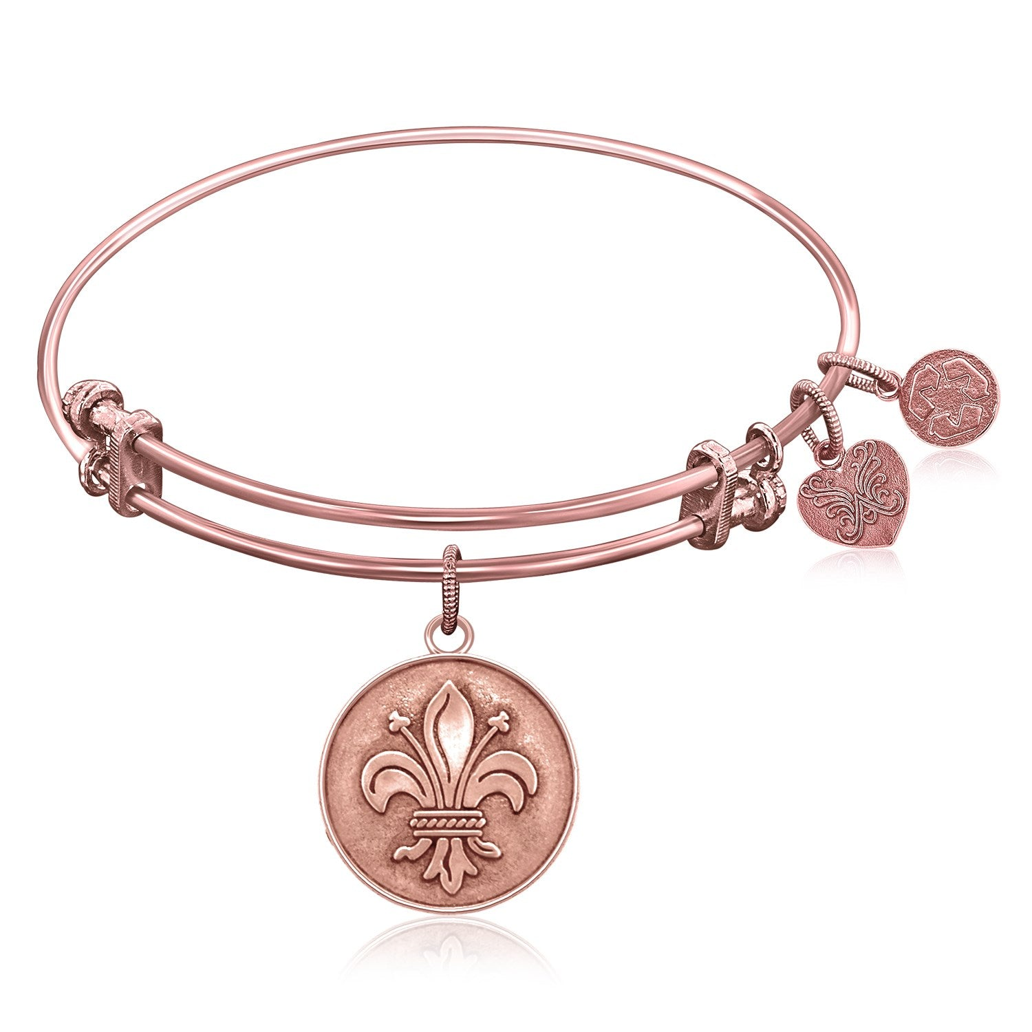 Expandable Bangle in Pink Tone Brass with Fleur-De-Lis Symbol