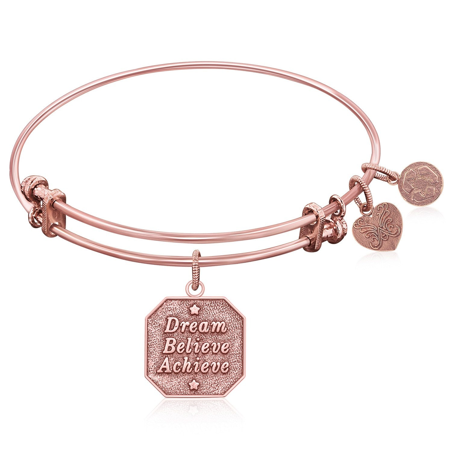 Expandable Bangle in Pink Tone Brass with Dream Believe Achieve Symbol