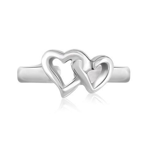 Sterling Silver Rhodium Finished Toe Ring with Intertwined Hearts - Uniquepedia.com