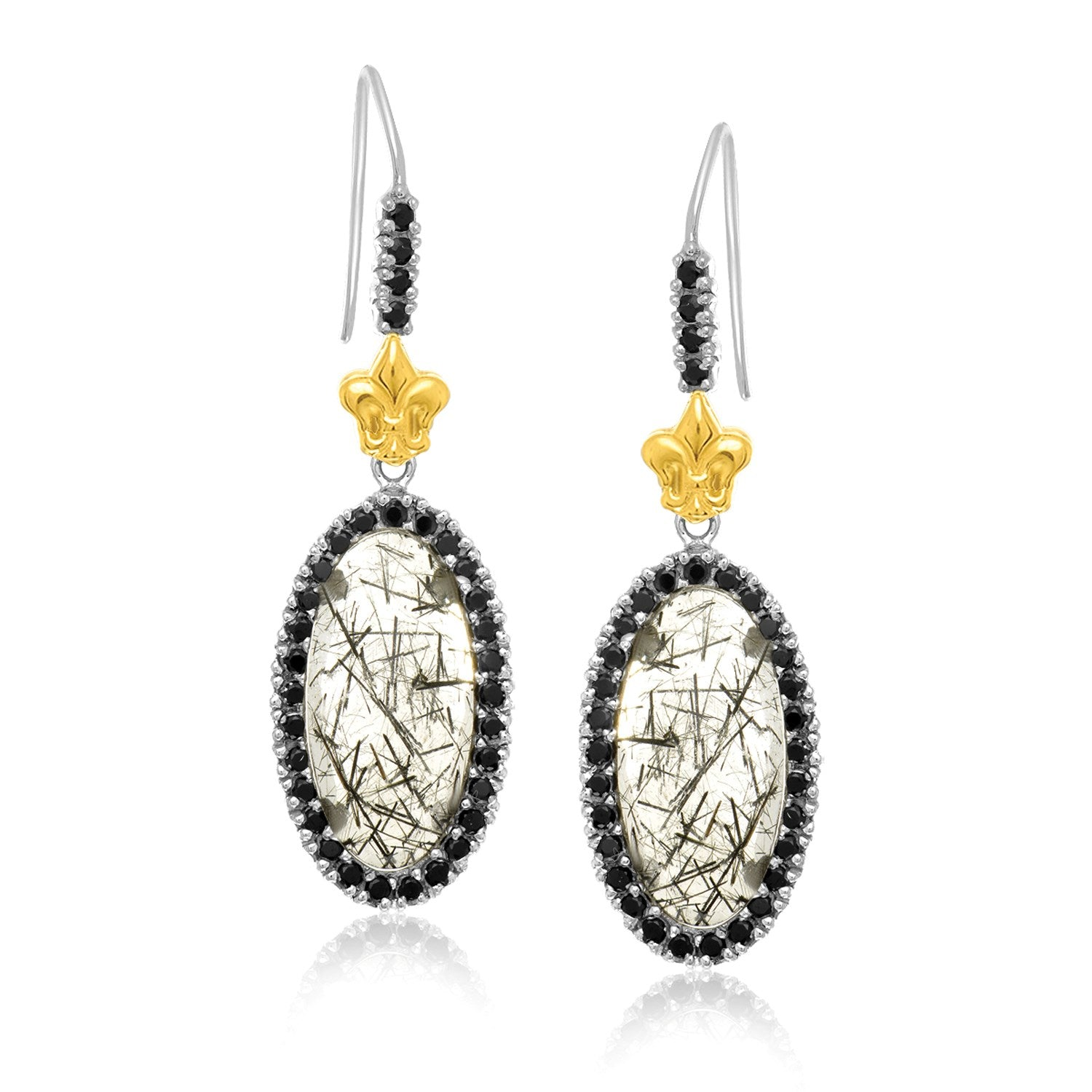 Unique Modern Paris Style 18K Yellow Gold & Sterling Silver Rutilated Quartz Fleur De Lis Drop Earrings