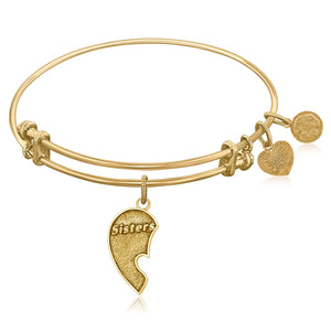 Expandable Bangle in Yellow Tone Brass with Sisters Inseparable Symbol