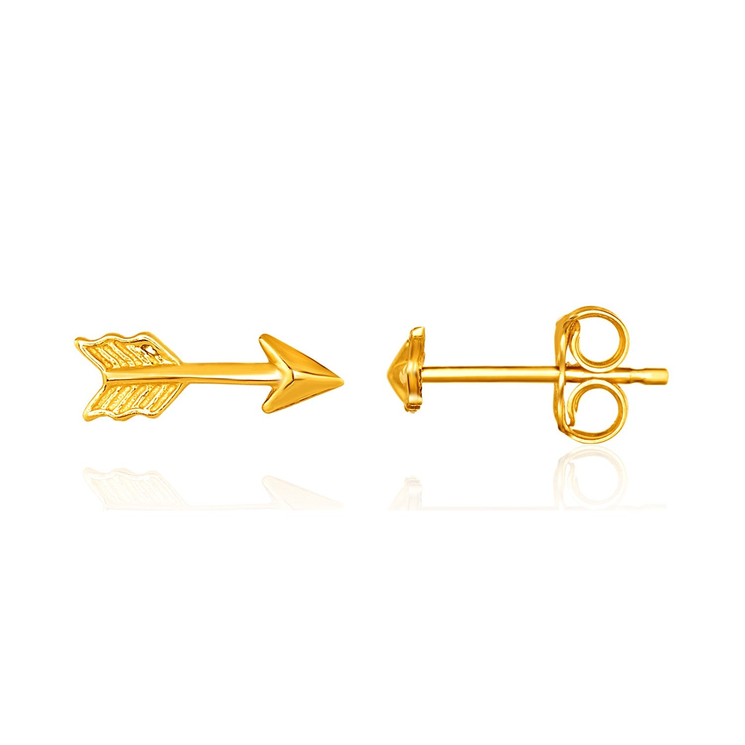 14K Yellow Gold Single Post Earring with Textured Arrow