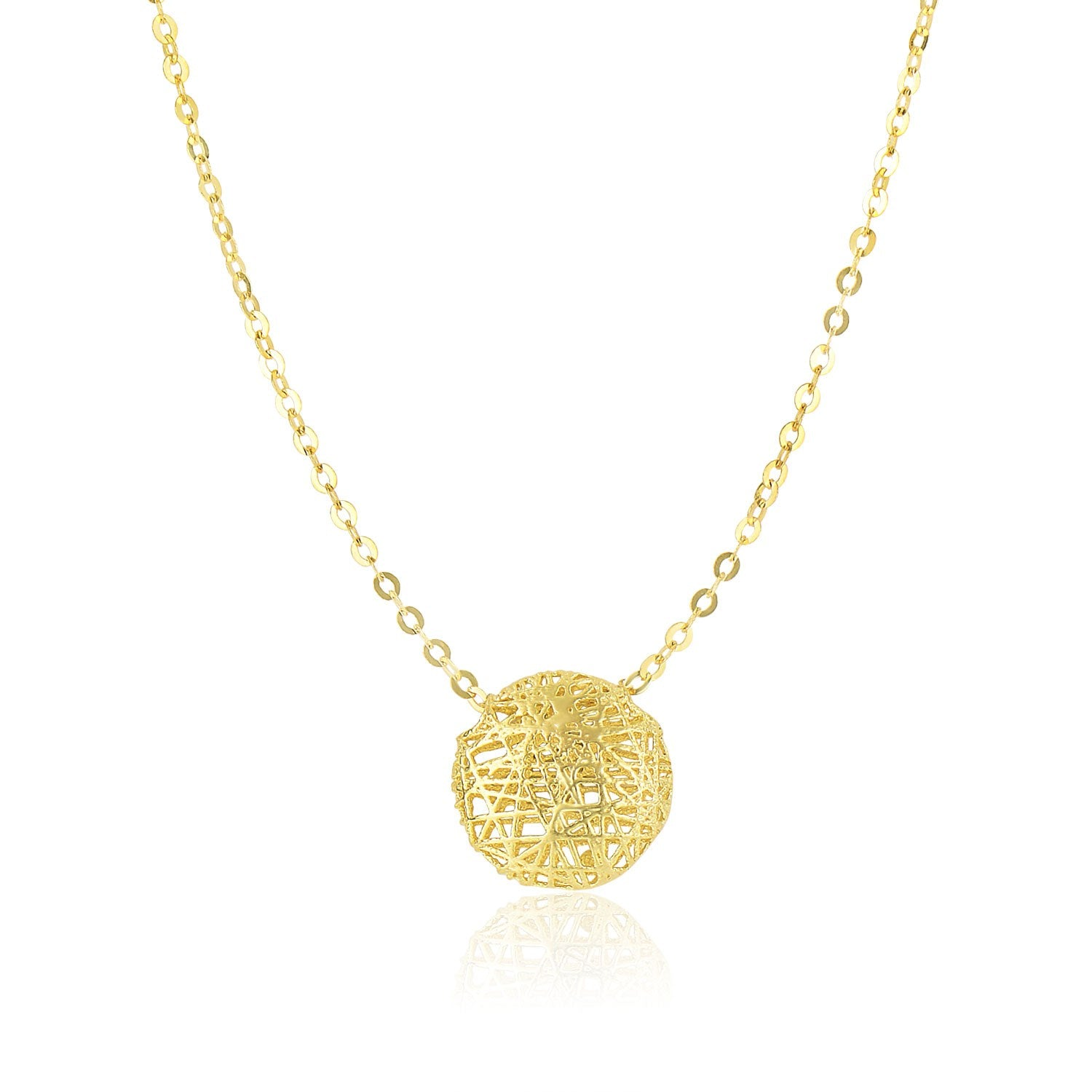 14K Yellow Gold Mesh Style Puffed Round Necklace