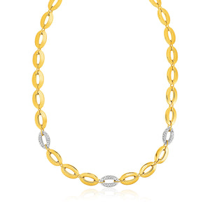 14K Yellow Gold and Diamond Oval Link Necklace (1/3 ct. tw.)