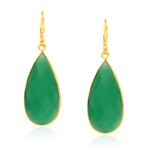 Original New York Style  Sterling Silver Yellow Gold Plated Green Onyx Long Teardrop Earrings