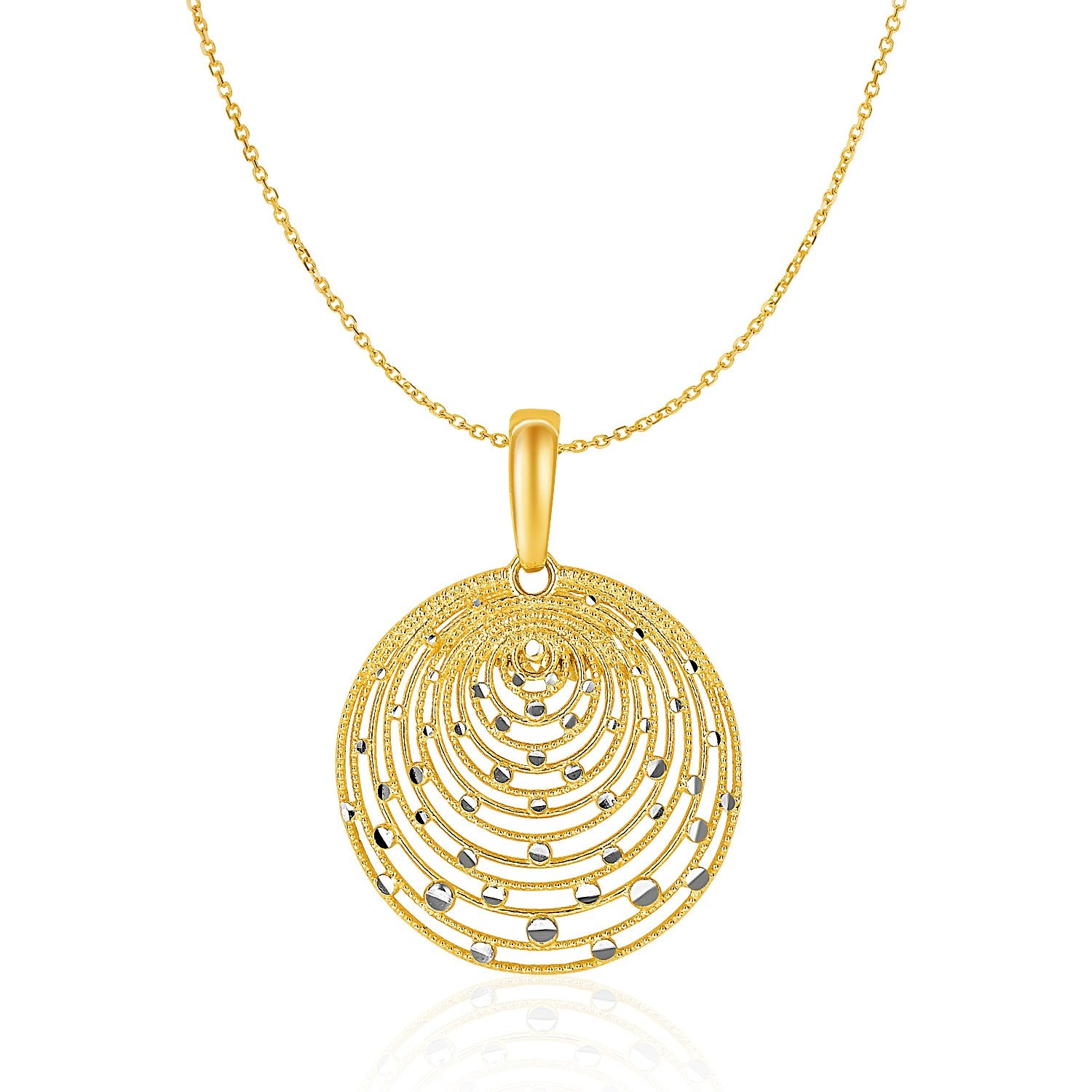 14K Two-Tone Gold with Graduated Circles Pendant