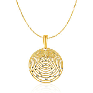 Original New York Style  14K Two-Tone Gold with Graduated Circles Pendant