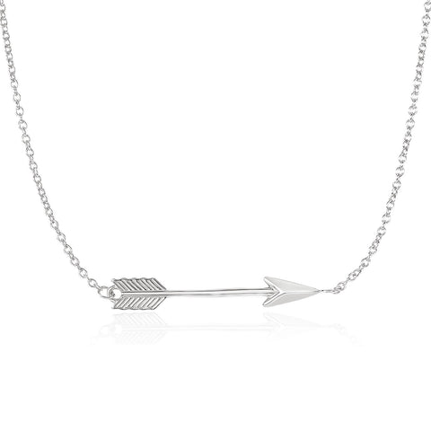 14K White Gold Chain Necklace with Horizontal Arrow Pendant