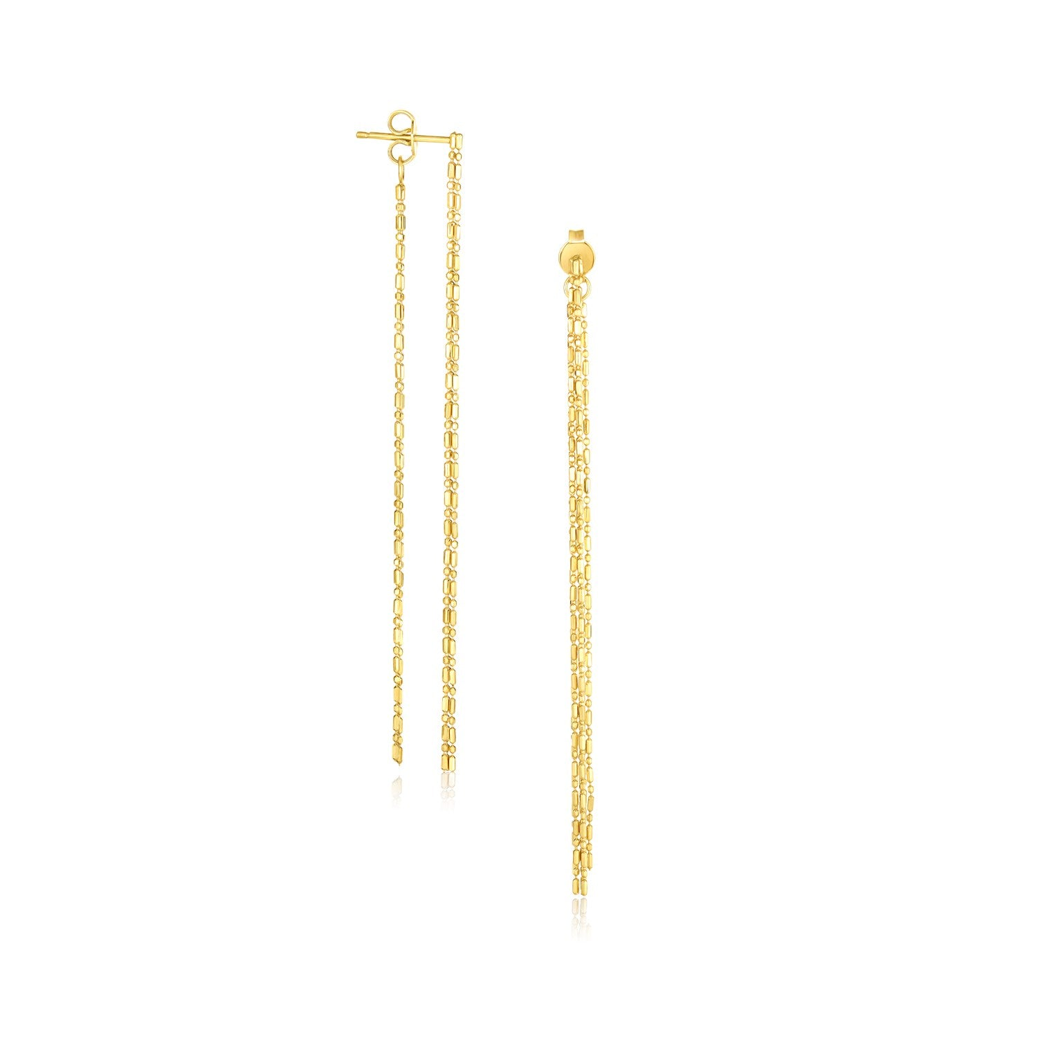 Modern Hollywood Style Classy 14K Yellow Gold Double Chain Strand Drop Earrings