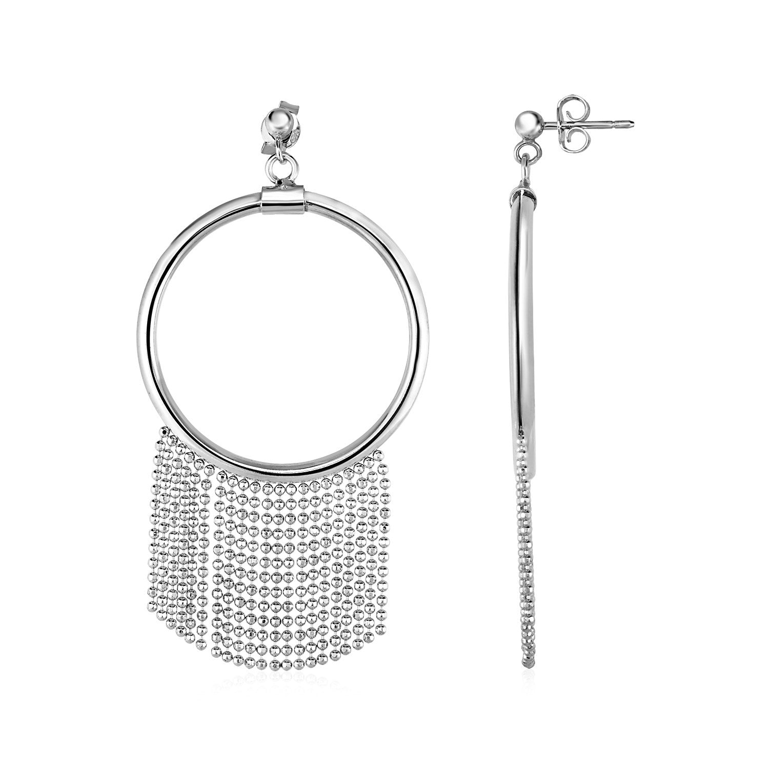 Unique Modern Paris Style Polished Ring Earrings with Chain Tassels in Sterling Silver