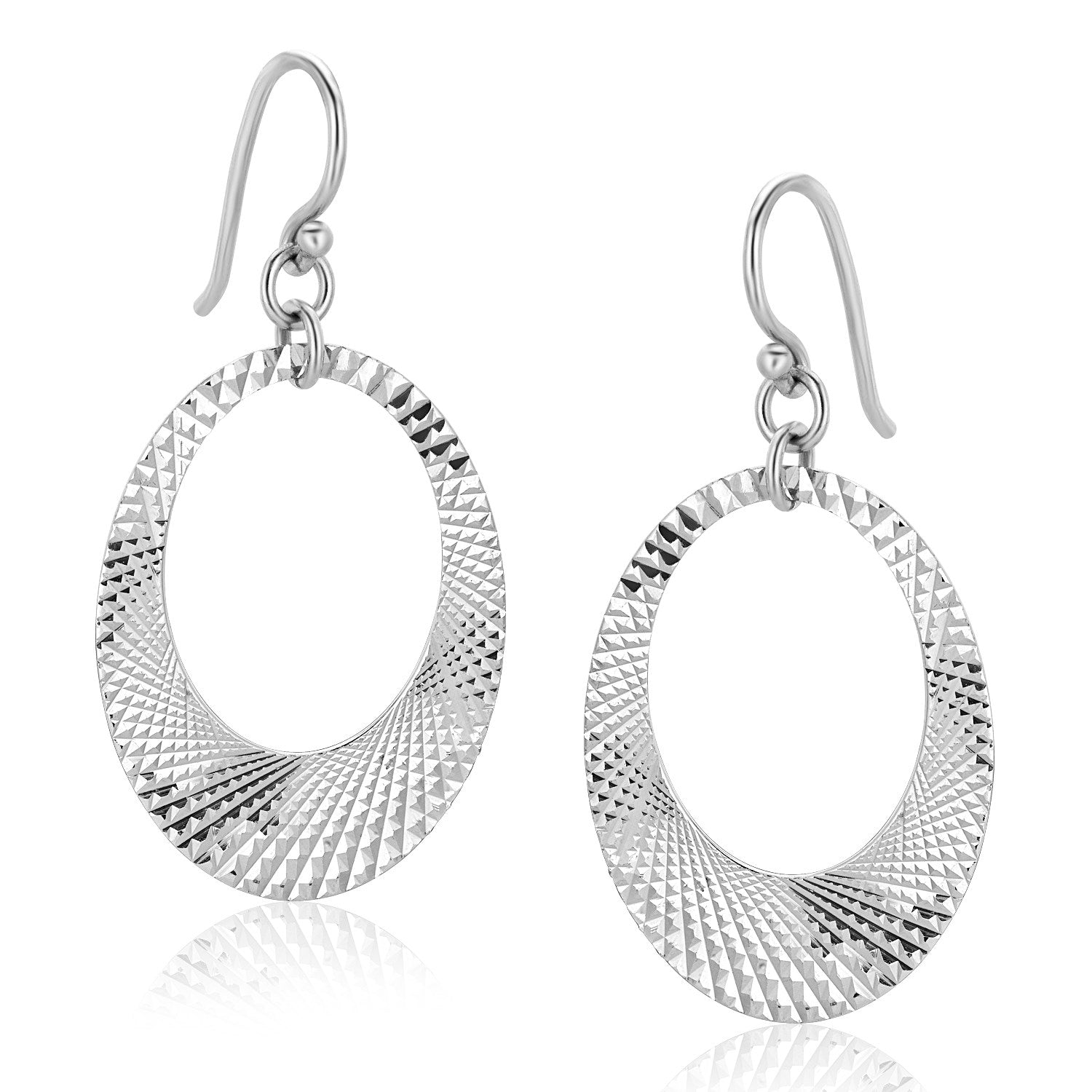 Sterling Silver Textured Open Graduated Oval Drop Earrings