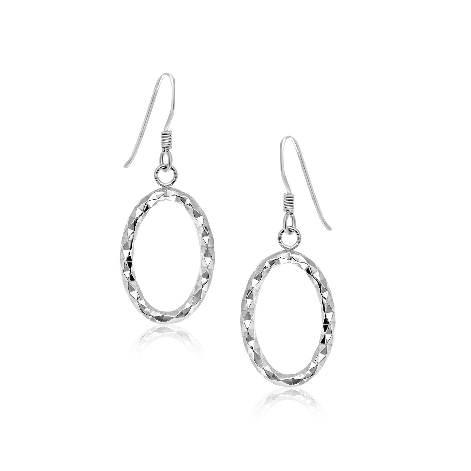 Unique Modern Paris Style Sterling Silver Open Oval Drop Earrings with Textured Design