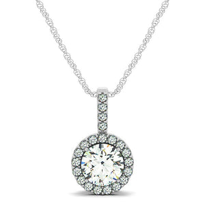 14K White Gold Diamond Halo Round Style Pendant (5/8 ct. tw.)
