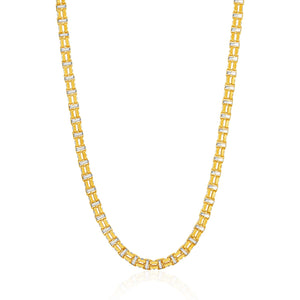 14K Two-Toned Yellow and White Gold Double Link Men's Necklace
