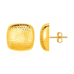 Original New York Style  Textured Rounded Square Post Earrings in 14K Yellow Gold