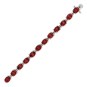 Bracelet with Oval Garnets in Sterling Silver