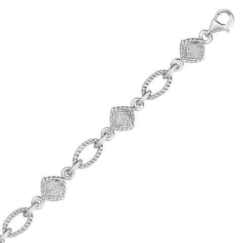 Unique Modern Monaco Style Sterling Silver Cable Oval and Square Link Bracelet with Diamonds (1/4 ct t.w.)